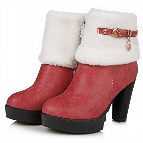 Carolbar Womens Rits Gesp Fashion Warm Elegance Charm High Heel Snow Dress Boots Red