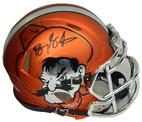 Barry Sanders Signed Oklahoma State Cowboys Orange Pistol Pete Riddell Speed Mini Helmet by Schwartz Sports...