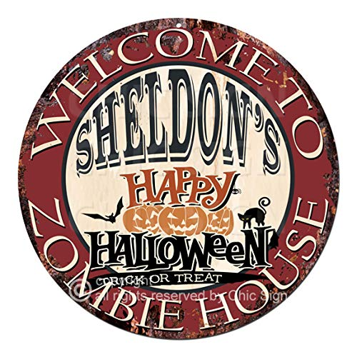 Welcome to The Sheldon'S Happy Halloween Zombie House Chic Tin Sign Rustic Shabby Vintage Style Retro Kitchen Bar Pub Coffee Shop Man cave Decor Gift Ideas -