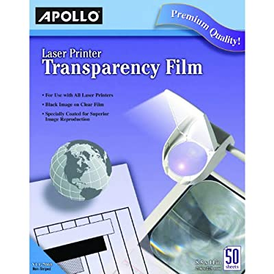 Apollo Laser Jet Printer and Copier Transparency Film, 50 Sheets