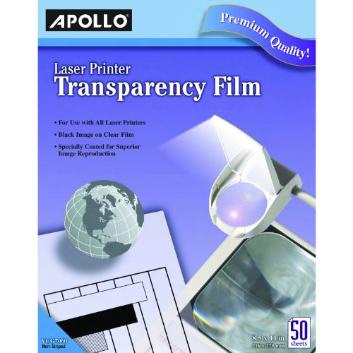 Apollo VCG7060E Laser Jet Printer and Copier Transparency Film, 50 Sheets ()