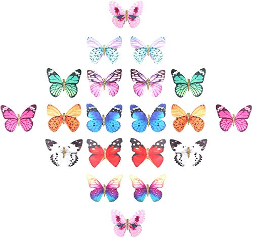20 Pieces Assorted Colors Pack Glitter 90S Butterfly Hair Clips Mini Small Claw Snap Clasp Pins Barrettes Alligator Clamps Head Accessories Wedding Bridal Hair Styling Bows for Kids Girls Teens Women ()
