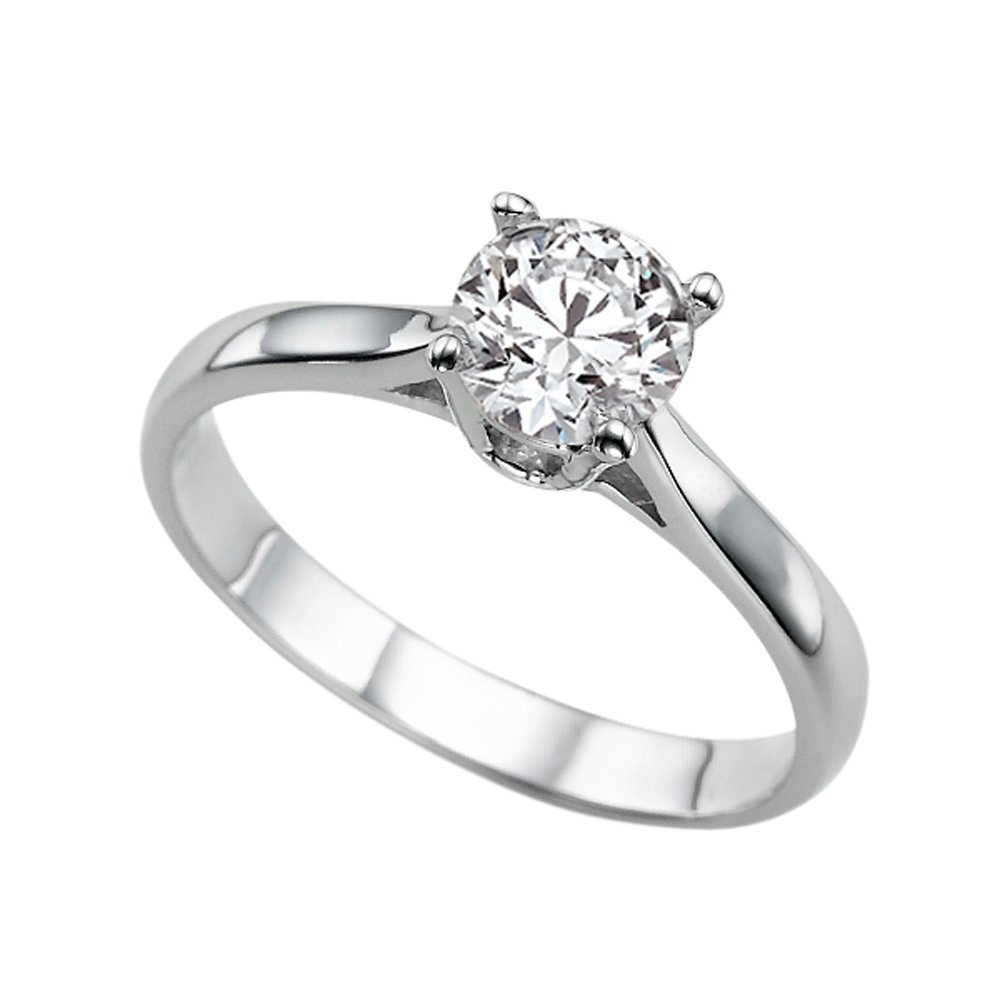 Moissanite Forever Classic 6.50MM (0.86CT Moissanite Weight,1.00CT Diamond Equivalent Weight) Engagement Ring 14K White Gold