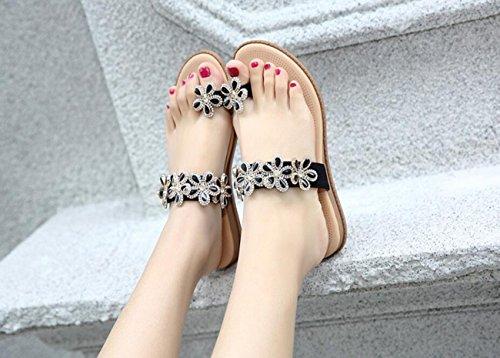 de Negro Verano Sandalias de Sandalias Bohemia Plano Zapatos DANDANJIE Sandalias para tacón Chanclas Playa caseros Casuales Zapatos Mujer 41A1TPq