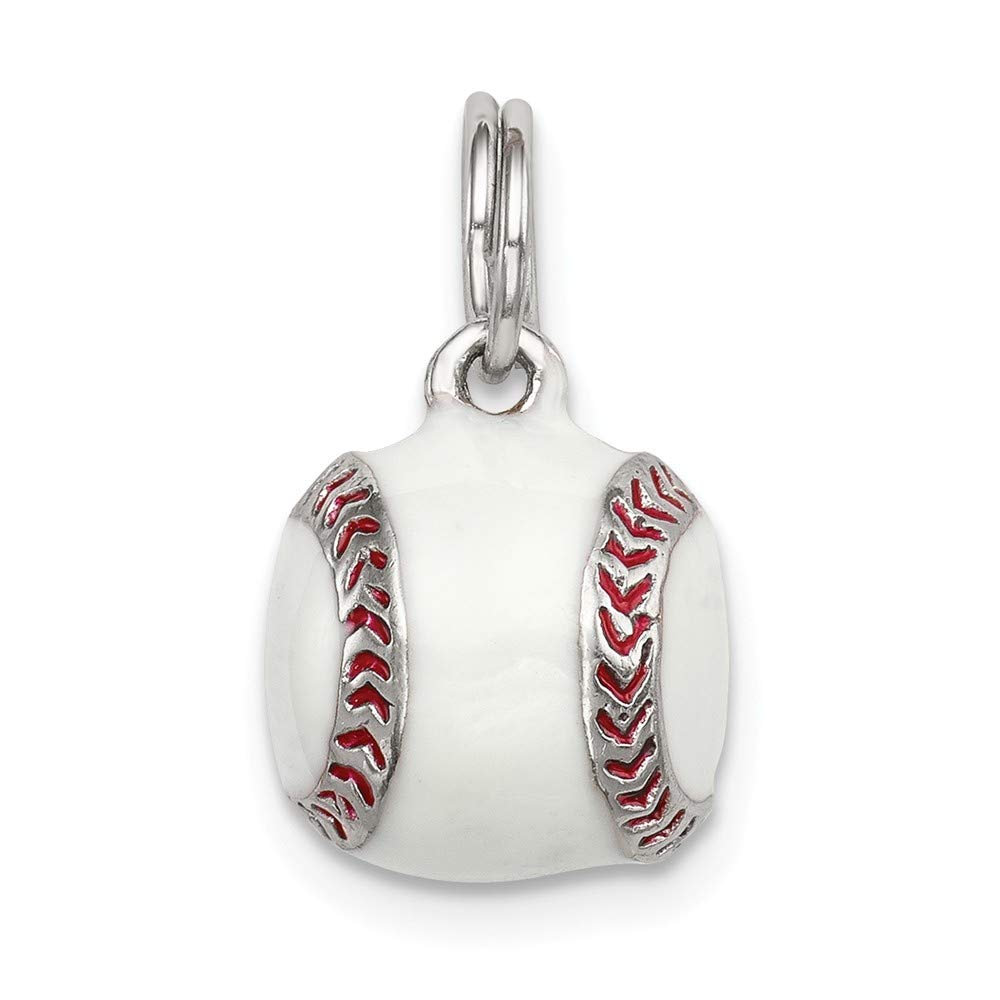 Mia Diamonds 925 Sterling Silver 3D Enamel Baseball Charm 11mm x 11mm