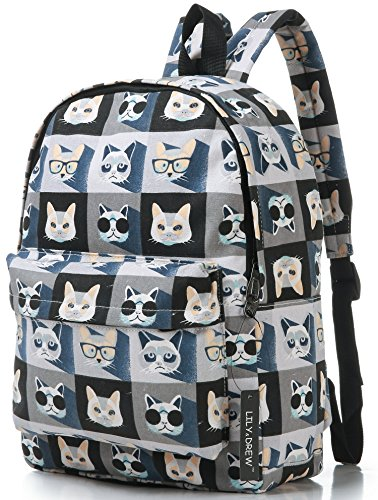 Canvas Travel Backpack for Women and Teens (Cat Grey Medium)