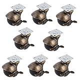 SODIAL 40mm 1.5-inch Wheel 360 Degree Swivel Plate Hooded Ball Shaped Brake Caster 8pcs