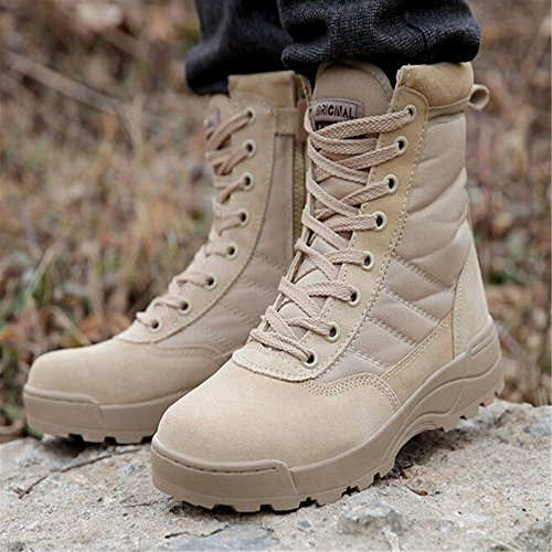 YING LAN Men's Tactical Military Combat Boots Side Zipper Army Outdoor Hiking High Top Shoes