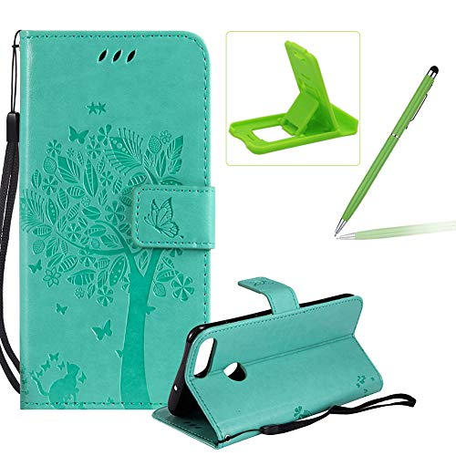 Price comparison product image Herzzer Strap Leather Case for Huawei P Smart,Bookstyle Magnetic [Green Solid Color] Stand Flip Case for Huawei P Smart, Premium Elegant Butterfly Tree Cat Print Fold Wallet Folio Case