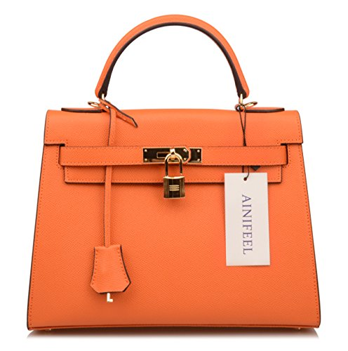 Purse Shoulder Satchel Padlock B Orange Ainifeel Purse Handbags Women's Bag Hobo BAP7nI6