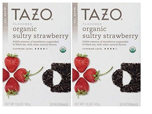 - Tazo Flavored Organic Sultry Strawberry Black Tea Blend - Pack of 2, 20 Filter Bags, 1.6 Oz. Ea.