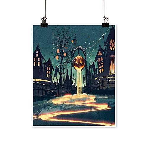 Single Painting Halloween Theme Night Pumpkin and House Ghost Town ful Teal Orange Office Decorations,24
