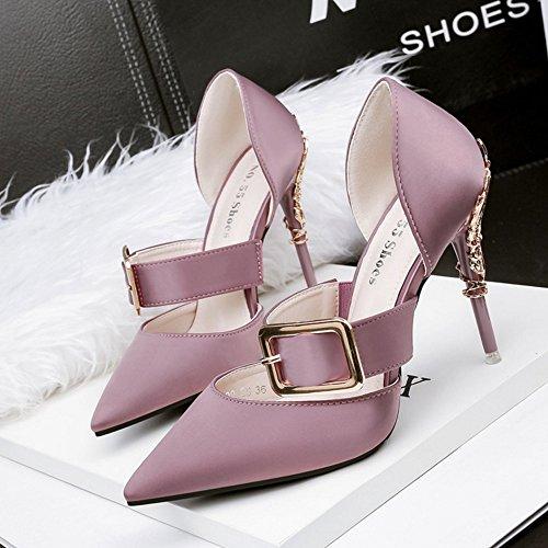 Zapatos tacón de Botón Zapatos de de verano y primavera tacón metal mujeres de color de ligera de Zapatos de Street sólido de Zapatos de purple Office de variedad colo Light alto Una moda para alto boca tacón alto q7Ow4z