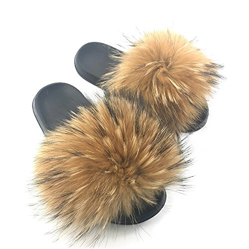 Yu Li Womens Luxury Real Raccon Fur Slippers Slides Indoor Outdoor Flat Soles Soft Summer Shoes Brown 38 ()