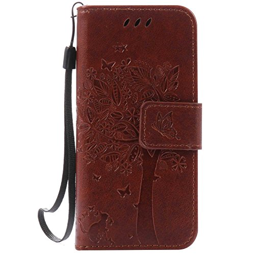 iPod Touch 5th / 6th Generation Wallet Case, UNEXTATI Leather Flip Cover Case with Kickstand Feature for Apple iPod Touch 5th / 6th Generation (Brown #10)