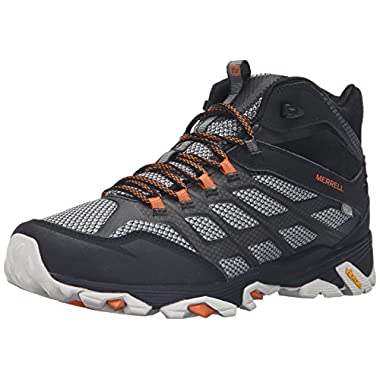 Merrell Men's Moab FST Mid Waterproof Wide Hiking Shoe, Black, ...
