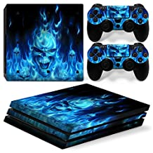 OKFCUS Skull Flame Vinyl Decal Skin Sticker for PS4 Pro Console + 2 Controller Decal 5#