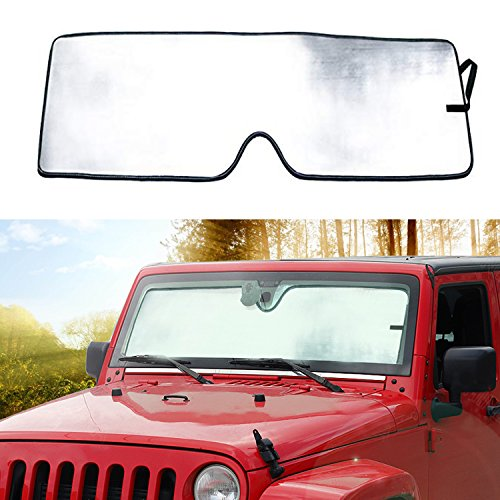 Bolaxin Front Windshield Sunshade Sun shade for Jeep Wrangler 2007-2018 (Jeep Shade)