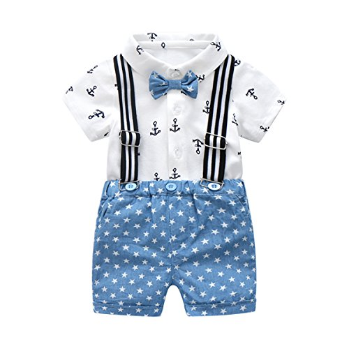 Boarnseorl Baby Boys Short Sleeve Gentleman Outfits Suits, Infant White Shirt With Tie+Blue Pants Overalls Clothing Set
