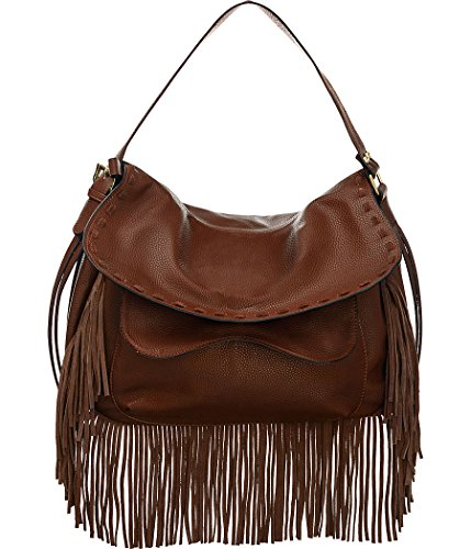 Vitalio Vera Anaya Brown Fringe Crossbody Convt Big Hobo ()