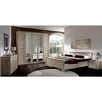 Schlafzimmer Komplett Set Eiche Sägerau Bett Kleiderschrank