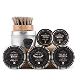"""CanYouHandlebar BEARD CARE ULTIMATE KIT - Wisdom, Initiative & Classic 2 OZ Beard Dry Oil Cans + """"Get a Pair"""" Primary and Secondary Mustache Wax SET + Premium Horse-Hair Beard Oil Brush. All Natural"""