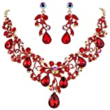 BriLove Women's Bohemian Boho Statement Necklace Dangle Earrings Jewelry Set with Crystal Hollow Filigree Vine Leaf Ruby Color Gold-Tone