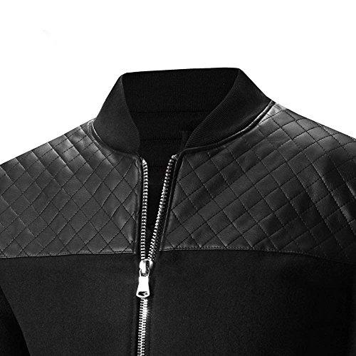 Kobay Veste Outwear Hommes Cou Manteau Stand Zipper Patchwork Hiver Noir Automne Chaud rrxA0