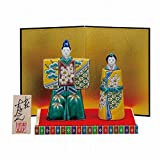 Jpanese traditional ceramic Kutani ware. Japanese girl's doll Hina ningyo. Iroe shochikubai. With paper box. ktn-K5-1674