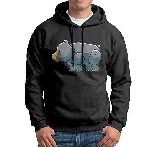 Bekey Men's Black Bear Cute Pullover Hoodie Sweatshirt M - Near Shop Toms Me