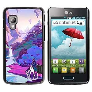 Caucho caso de Shell duro de la cubierta de accesorios de protección BY RAYDREAMMM - LG Optimus L5 II Dual E455 E460 - Horse Pink Purple River
