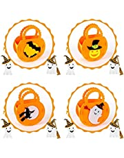 Trick or Treat Bags, Halloween Candy Bags, Candy Felt Holder Bags with Handle, Reusable Bags Tote Bags, Halloween Goodie Bags, Halloween Candy Bags Treat Bags for Kids-4Pcs