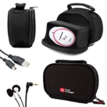 DURAGADGET Black Neoprene Lightweight Zip-Locked Carry Case - Compatible with the AngelSounds Fetal Doppler Baby Heart Monitor - Includes USB Data Cable and In-Ear Comfortable Earphones