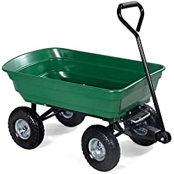 Giantex Garden Dump Cart Wagon Carrier w/Steel Frame Poly Bed Wheel Barrow Air Tires 650 lbs Capacity Green