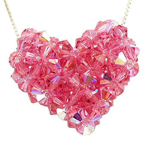 Sterling Silver and Swarovski Crystal Rose Woven Puffy Heart Necklace Swarovski Crystal Puffy Heart Pendant