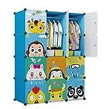 KOUSI Portable Kids Wardrobe Closet Children Dresser Hanging Storage Rack Clothes Closet Bedroom Armoire Cube Organizer Formaldehyde-Free Furniture (Blue, 8 Cubes&2 Hanging Sections)