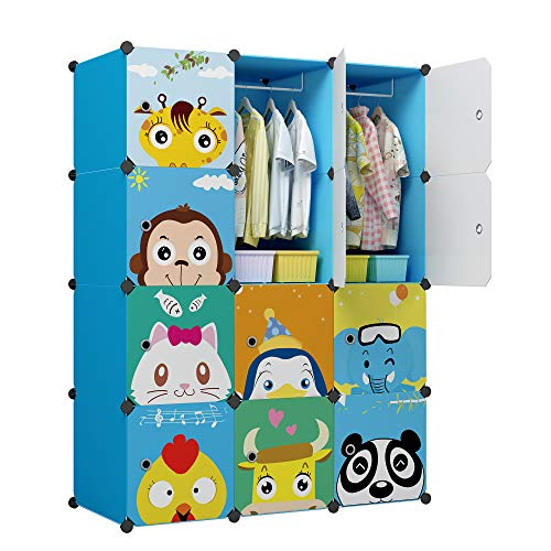 Blue Storage Armoire - KOUSI Portable Kids Wardrobe Closet Children Dresser Hanging Storage Rack Clothes Closet Bedroom Armoire Cube Organizer Formaldehyde-Free Furniture (Blue, 8 Cubes&2 Hanging Sections)