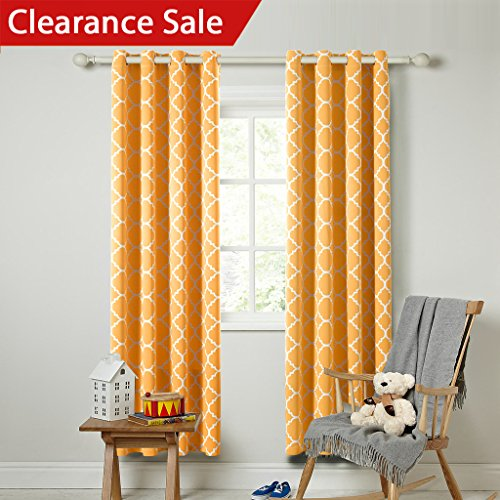 flamingop microfiber noise reducing thermal insulated moroccan blackout drapes printed window curtains for living room grommet top set of two panels