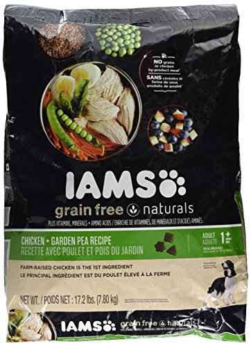 Iams Grain Free Naturals Adult Dog Chicken And Garden Pea Recipe Premium Dry Dog Food (1) 17.2 Pound Bag; Veterinarians Recommend Iams; Chicken Is #1 Ingredient