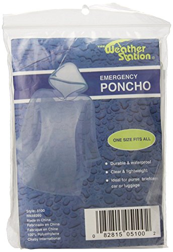 The Weather Station Waterproof Emergency Poncho With Hood, 2-pack ()