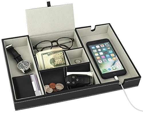 Mantello Valet Tray Nightstand Organizer Charging Station Leather 6 Compartments, Black, Large ()