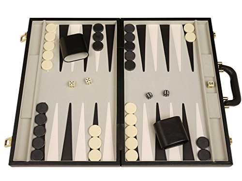 "Middleton Games Deluxe Backgammon Set - 18"" Classic Board, Black Case"