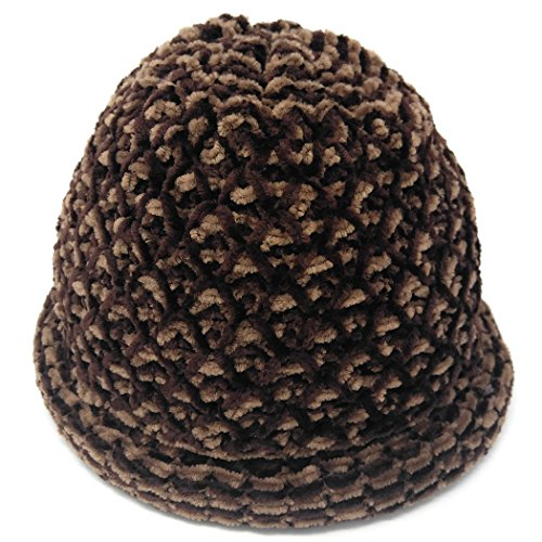 Chenille Beanie Hat - MWS Roll Brim Chenille Knit Hat, Double Layer Roller Cloche Cap, Bowler Style (Brown/Tan),Medium