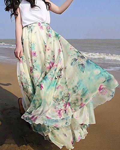 Medeshe Women's Long Floral Holiday Beach Chiffon Maxi Skirt (Length: 85cm)