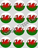12 Welsh Flag rice paper fairy / cup cake 40mm toppers pre cut decoration wales dragon Made By Simply Topps - Matching Cupcake Wraps in our Store