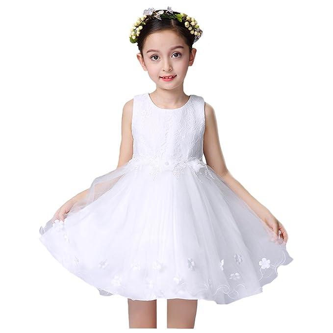 LSERVER-Vestido de gasa para niñas en la boda o las fiestas Blanco