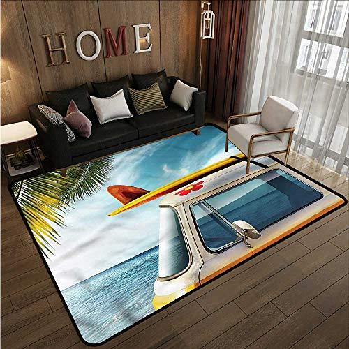 Kids Rug Surfboard Vintage Van Roof Journey Anti-Slip Doormat Footpad Machine Washable 6'6