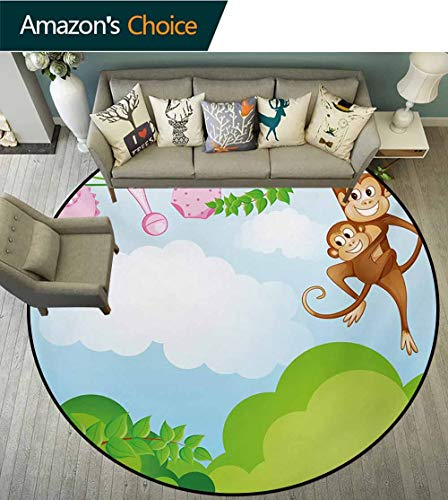 (RUGSMAT Nursery Washable Creative Modern Round Rug,Monkey Swinging with The Kid Baby Clothes Chimpanzee Jungle Joy Togetherness Coffee Table Mat Non-Skid Living Room Carpet,Round-55 Inch)