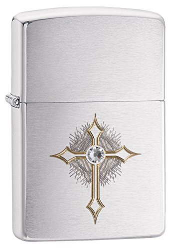 Zippo Cross with Crystal Pocket Lighter, High Polish Chrome