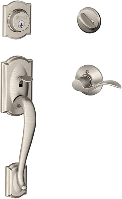 Schlage Lock Company Camelot Single Cylinder Handleset And Left Hand Accent Lever Satin Nickel F60 Cam 619 Acc Lh Doorknobs Amazon Com